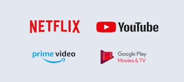 Logos Netflix, YouTube, prime video et Google Play