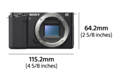 Vue avant d'un appareil photo avec une largeur de 115,2mm et une hauteur de 64,2mm