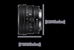 Vue latérale gauche de l'objectif avec les dimensions Largeur 45mm et Hauteur 68mm