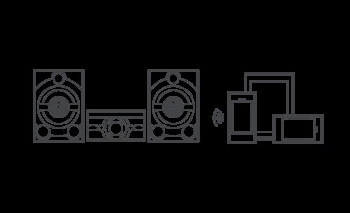 Image graphique montrant un système d'enceintes MHC-M60D et les périphériques connectés