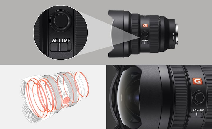 Image du produit montrant le commutateur AF et illustration de la conception résistante à la poussière et à l'humidité