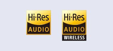 Logos Hi-Res Audio et Hi-Res Audio sans fil